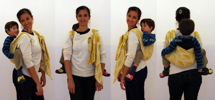 Cruz simple a la espalda con niño de 3 años