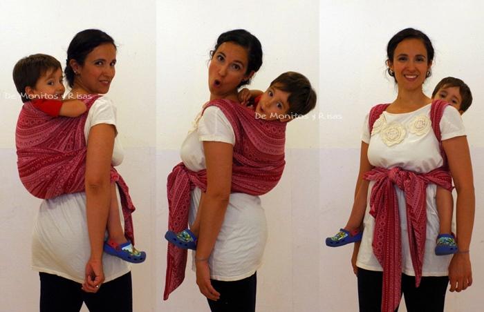 Canguro detrás reforzado, con niño de 3 años