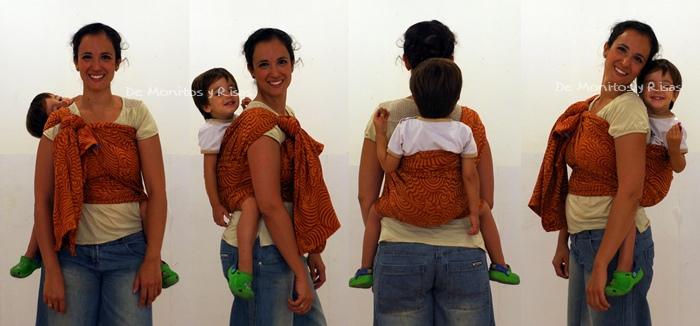 Doble hamaca rebozo con niño de 3 años
