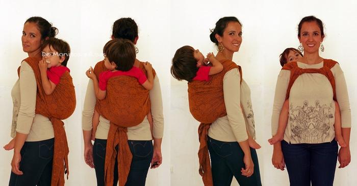 Doble rebozo hombro a hombro con niño de 3 años